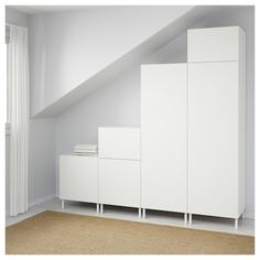 PLATSA Wardrobe IKEA Fits perfectly on sloping walls and under stairs . - Ikea DIY - The best IKEA hacks all in one place Wardrobe Furniture, Ikea Furniture, Ikea, Furniture, Ikea Wardrobe, White Bedroom Furniture Ikea, White Bedroom Furniture, Bedroom Organization Storage, Closet Bedroom