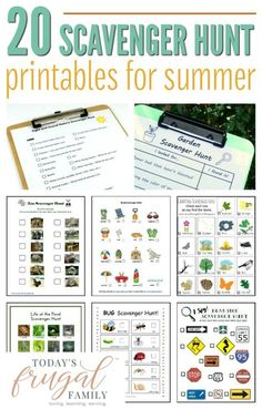 Are you looking for some fun, low-cost activities to enjoy as a family this summer? These 20 FREE scavenger hunt printables will do the trick! :: todaysfrugalfamily.com