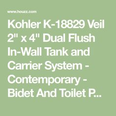 """Kohler K-18829 Veil 2"""" x 4"""" Dual Flush In-Wall Tank and Carrier System - Contemporary - Bidet And Toilet Parts - by Buildcom"""