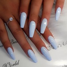 Acrylic Nails Light Blue, Pastel Blue Nails, Light Purple Nails, Blue Coffin Nails, Acrylic Nails Coffin Short, Coffin Shape Nails, Summer Acrylic Nails, Summer Nails, Spring Nails