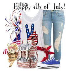 """""""Happy 4th of July!"""" by tallybow ❤ liked on Polyvore featuring Frame Denim, American Eagle Outfitters, Converse and Mudd"""