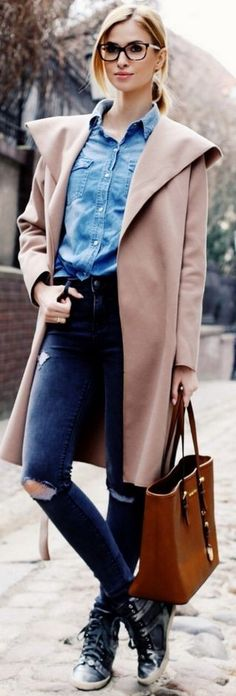 Daily Styling Pink Coat, Denim Jeans and Shirt | Casual Winter Street Style | Beauty Fashion Shopping