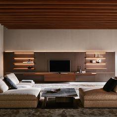 Living Room Tv Unit Designs, Living Room Wall Units, Living Room Shelves, Living Room Furniture, Tv Stand Designs, Modular Walls, Interior Architecture, Interior Design, Shelf Design