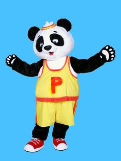 Yellow T shirt Panda Mascot Costume,School Game Mascot, Mascot Costumes, Adult Costumes, Eagle Mascot, Yellow T Shirt, School Games, New Product, Tigger, Cheerleading, Panda