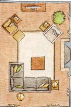 LOVE WHERE YOU LIVE: Furniture Arrangment also love the painted sisal rug on this site
