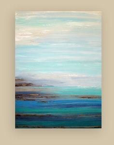 Abstract SeaScape Blue and Gray Original by OraBirenbaumArt