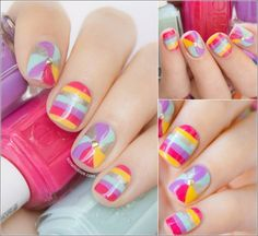 Summer is all about colours that is why here is a nail design that is having multi coloured swirls and stripes. The nails having swirly pattern are added round dull golden studs looking so chic and cheerful.