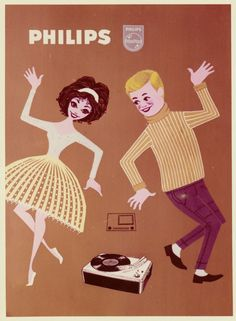 Philips record player advertisement from the 1960s