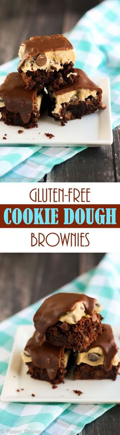 "With these Gluten Free Chocolate Chip Cookie Dough Brownies you'll never have to pick between fudgy brownies or gooey cookie dough ever again. On my ""to make dairy free"" bucket list!"