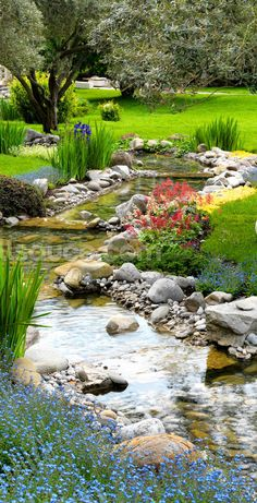 Adorn your wall with this custom-made Asian Garden and Pond wallpaper. Supplied in panels and easy to install. Backyard Stream, Garden Stream, Backyard Water Feature, Ponds Backyard, Water Garden, Garden Path, Backyard Ideas, Japanese Garden Backyard, Japanese Garden Landscape