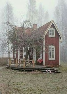 awesome Little Red Cottage.- awesome Little Red Cottage…♥… by www.danazhome-dec… awesome Little Red Cottage…♥… by www. Little Cottages, Small Cottages, Cabins And Cottages, Little Houses, Red Houses, Small Cabins, Red Cottage, Cottage Homes, Cottage Style