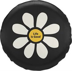 This weatherproof tire cover features a tough exterior and interior, standing up to whatever Mother Nature dishes out. Featuring a positive vibes Life Is Good® daisy design. Shop more Life Is Good® at Coral & Calypso online or in-store in Rockwall, TX. Jeep Wrangler Tire Covers, Jeep Spare Tire Covers, Jeep Tire Cover, Tire Covers For Jeeps, Jeep Wheel Covers, Jeep Covers, Jeep Wrangler Accessories, Jeep Accessories, Best Tyres