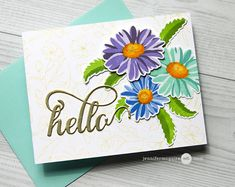 Layering Ink Swatches & Tips Video by Jennifer McGuire Ink; Altenew's Apr release; Flower Stamp, Flower Cards, Mail Art Envelopes, Addressing Envelopes, Jennifer Mcguire Ink, Altenew Cards, Winter Rose, Card Tricks, Making Greeting Cards