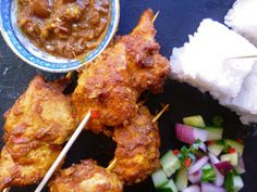 Satay chicken and cucumber pickle