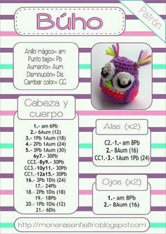 Best 12 Buho amigurumi patron by hester Owl Crochet Patterns, Crochet Owls, Love Crochet, Amigurumi Patterns, Amigurumi Doll, Crochet Animals, Knit Crochet, Amigurumi Tutorial, Crochet Keychain