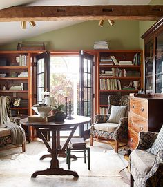 @tita1430 you could do a wall of bookshelves on one side, chairs in the middle w/table and fireplace on the opposite wall!!!