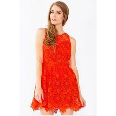 Sugar Lips Orange Blossom Sleeveless Crochet Skater Dress (81 CAD) ❤ liked on Polyvore featuring dresses