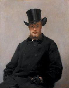 Paul Mathey (1844-1929), 'Portrait d'homme au chapeau haut-de-forme', Toile, 90x71,5 cm