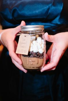 Mason jar hot coco mix wedding favor | MARY DOUGHERTY PHOTOGRAPHY | WHITEFACE LODGE | http://knot.ly/6498Bt8bK | http://knot.ly/6499Bt8bz | http://knot.ly/6490Bt8bM