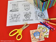 Fun printable color-your-own superhero lunchbox notes from Designer Daddy. Or buy them already colored...then just print!