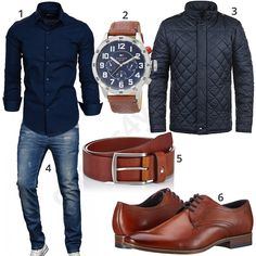 Dunkelblaues Herrenoutfit mit braunem Gürtel und Schuhen Chic men's outfit with dark blue Amaci & Sons shirt, light solid quilted jacket, washed-out A. Salvarini jeans, Tommy Hilfiger wrist watch, leather belt and Bugatti lace-up shoes. Stylish Mens Outfits, Casual Outfits, Men Casual, Fashion Outfits, Mantel Elegant, Mode Man, Herren Style, Neue Outfits, Herren Outfit