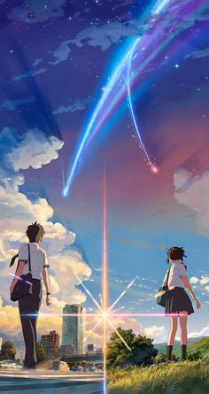 'Kimi No Na Wa // Your Name anime movie ' Poster by SkyStore Wallpapers Wallpapers, Anime Backgrounds Wallpapers, Anime Scenery Wallpaper, Cute Anime Wallpaper, Animes Wallpapers, Trendy Wallpaper, Japon Illustration, Digital Illustration, Mitsuha And Taki