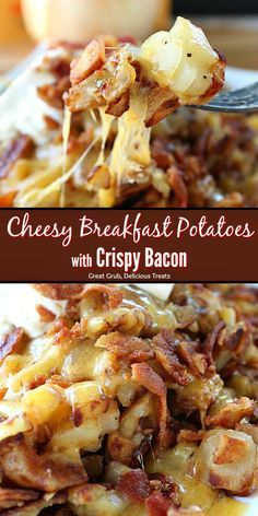 Cheesy Breakfast Potatoes with Crispy Bacon are perfect to add to the breakfast menu. They are loaded with cheese and crispy bacon then topped wth a dollop of sour cream. # breakfast recipes Cheesy Breakfast Potatoes with Crispy Bacon Breakfast Appetizers, Breakfast Desayunos, Breakfast Dishes, Healthy Breakfast Recipes, Healthy Brunch, Yummy Breakfast Ideas, Healthy Recipes, Healthy Breakfasts, Pastas Recipes