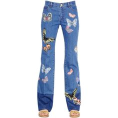 Valentino Women Butterfly Patches Cotton Denim Jeans ($1,700) ❤ liked on Polyvore featuring jeans, pants, blue, 5 pocket jeans, blue jeans, patch jeans, valentino jeans and button-fly jeans