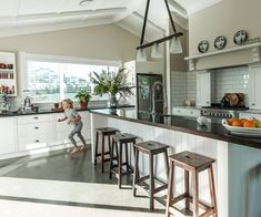 This family home in Havelock North proves new builds can have character Kitchen Interior, Home, Beach House Interior, Character Home, New Homes, House Interior, New Builds, Wooden Dining Tables, House Interior Decor
