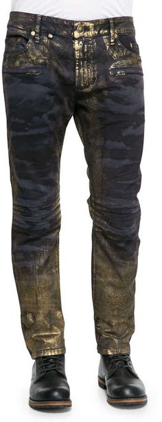 Robin's Jean Camo Gold Dusting Moto Jeans, Blue