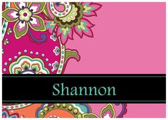 Vera inspired personalized note cards in Pink Swirls.  Multiple sizes available.  Great for teacher or bridesmaids gifts.