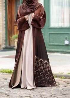 Essential Maxi Sheath Dress in Arabian Sand – Al Shams Abayas Modern Hijab Fashion, Abaya Fashion, Muslim Fashion, Modest Fashion, Fashion Dresses, Eid Outfits, Modest Outfits, Modest Clothing, Burqa Designs