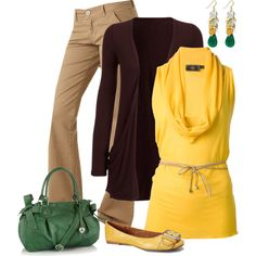 Yellow and Brown with a Pop of Green