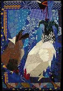 """While the title aptly describes the quilt, the name refers to a drawing by Leah McDowell, age 5, entitled """"Blue Chicken in a Field."""" The colors of the folden brown hen and the bright white rooster led me to choose a background of bright blue and white fabrics, rather than the more """"natural"""" background I used with the black chickens in a a previous quilt."""
