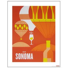 Hot air balloons and wine – Sonoma #graphic #illustration #poster