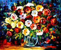 Original Recreation Oil Painting on Canvas    Title: Flowers Of Love  Size: 36 x 30 inches (90 cm x 75 cm)  Condition: Excellent Brand new  Gallery Estimated Value: $ 4,500  Type: Original Recreation Oil Painting on Canvas by Palette Knife    This is a recreation of a piece which was already sold.    The recreation is 100% hand painted by Leonid Afremov using oil paint, canvas and palette knife.    Its not an identical copy , its a recreation of an old subject. This recreation will have…