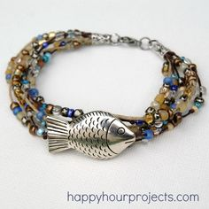 "Ocean ""Fish Bracelet"" wacky name- but with an oceanic feel- this quickie bracelet can be made in less than an hour even for a beginner!  Even 20-30mins! Checking out this Website is a must!"