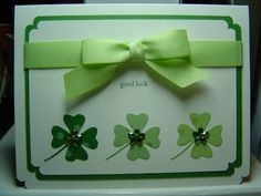 handmade St. Patrick's Day card ... St. Paddy by crazysuziestamper ... Memory Box shamrock die ... cute corner punch layering ...