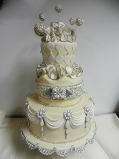 bling and swags wedding cake www.cheesecakeetc.biz wedding cakes Charlotte NC