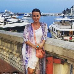 """Kyle Richards is living the life! She's enjoying her annual European vacation with her family. """"The Real Housewives of Beverly Hills"""" star boarded a yacht Kyle Richards, Casual Outfits, Fashion Outfits, Women's Fashion, Housewives Of Beverly Hills, Celebrity Bikini, Celebrity Style, Your Style, Street Style"""