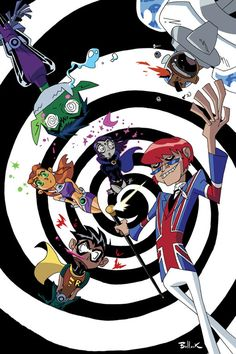 If you have seen the Teen Titans toon episode starring Mad Mod, you would know that all of his graphic hypnosis FX are Black and White. TEEN TITANS GO 8 Teen Titans Go, Teen Titans Tv Series, Robin, Dc Comics, Raven Comics, Original Teen Titans, New Titan, Hero Time, Beast Boy