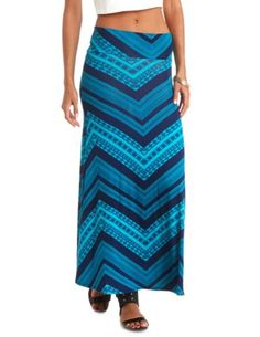 High-Waisted Tribal Chevron Print Maxi Skirt: Charlotte Russe