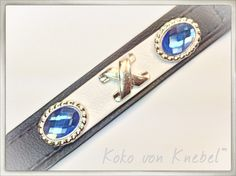 Black & White Leather Combination embellished with blue Crystals - Handcrafted by Koko von Knebel - Handmade in Germany