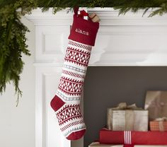Red & Ivory Natural Fair Isle Stocking | Pottery Barn Kids