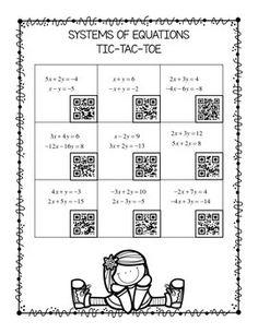 ALGEBRA SYSTEMS OF EQUATIONS TIC TAC TOE QR CODES FREEBIE! - TeachersPayTeachers.com