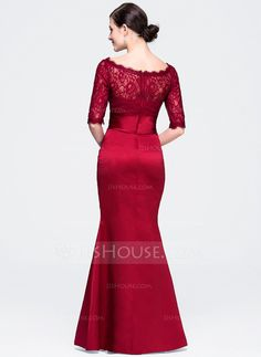 Trumpet/Mermaid Scoop Neck Floor-Length Zipper Up Sleeves Sleeves No Burgundy Winter Spring Fall General Plus Satin Lace Evening Dress Modest Wedding Dresses With Sleeves, Lace Evening Dresses, Dressy Dresses, Evening Gowns, Party Dresses, Vestidos Fashion, Fashion Dresses, Red Frock, Cocktail Vestidos