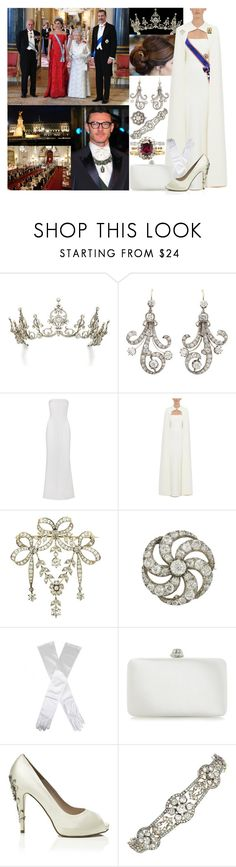 """""""Attending the State Banquet in honor of The King and Queen of Spain at Buckingham Palace with her family"""" by marywindsor ❤ liked on Polyvore featuring Safiyaa and Tiffany & Co."""