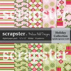 Christmas Digital Patterns Pink Red and by ScrapsterbyMHdesigns, $4.50