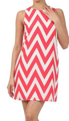 Cassie S/L Chevron Print Dress Hot Pink | Freckles Boutique