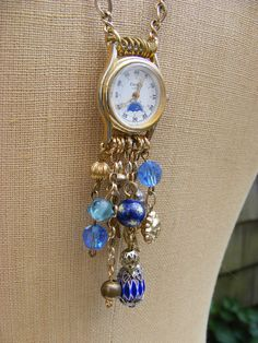 Starry Night  Upcyled Watch Face Necklace by YesterdaysTrashArt